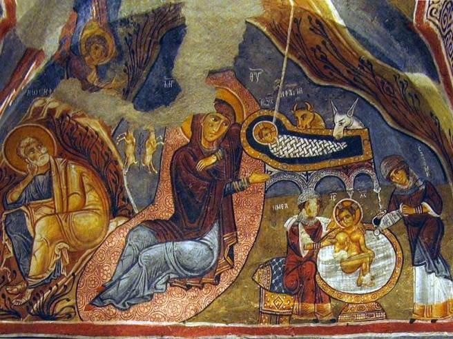 Byzantine Nativity fresco
