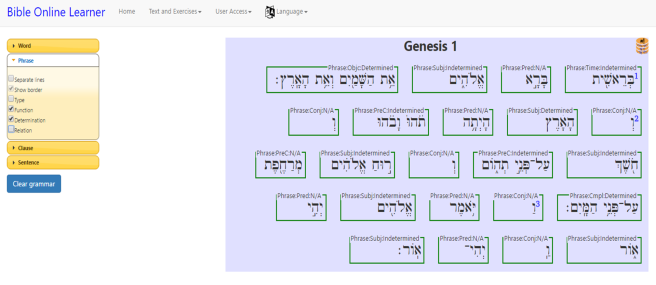 Screenshot of SHEBANQ's Hebrew Leaner showing Genesis 1:1-3