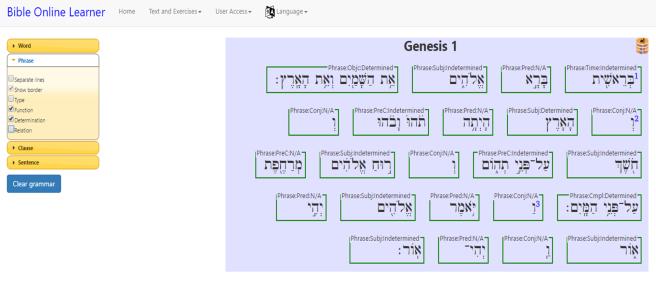 Screenshot of SHEBANQ's Hebrew Leaner showing Genesis 1:1-3
