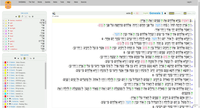 Screenshot of SHEBANQ text window