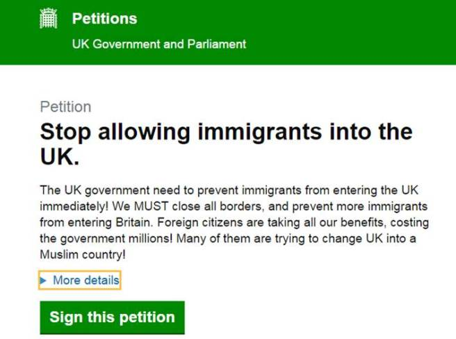 Screenshot of a petition to UK Government to stop allowing immigrants into the UK (05/09/2015)